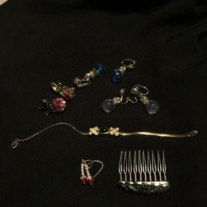 Jewelry - Vintage jewelry- earrings- bracelet -hair comb